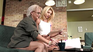 Aging lesbian Elvira is fixed devoted to beautiful young body of 19 yo model Missy Luv