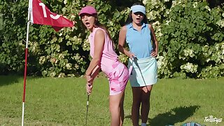 Voluptuous fantasy down on tap a catch golf course for two top lesbians