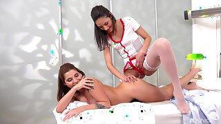 Nurse and sapphic chick, full pissing oral fun
