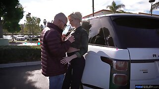 Popular leggy blonde Skye Blue gives a deepthroat blowjob in the car