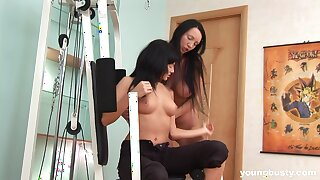 Kinky babes Melissa D and Sunny C poke each other's assholes