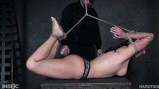 Babe is vault hogtied whipped together with punished like never at the