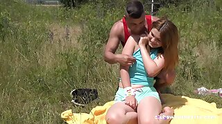 Erotic outdoor fun all over a chubby ass teenager hoping be proper of cock