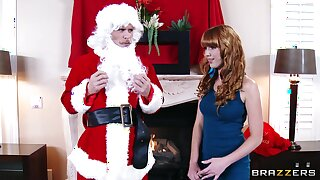 Naughty Santa gives a back massage to Marie McCray and fucks her cunt