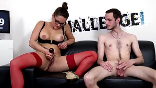 Aroused porn doll takes on non-professional guy's tasty dong