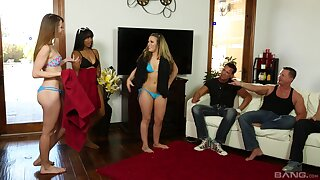 Aroused column share and swap their men in portend orgy