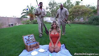 Busty wife Kayla Kayden enjoys having anal sex with 2 black dudes