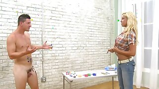 Bridgette B and man cover naked bodies with paint surcease a date
