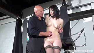 Horny ancient master introduces a hot babe to some light BDSM play
