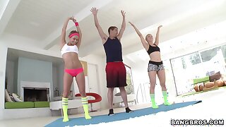 Morning workout leads slutty babes to share a cock together