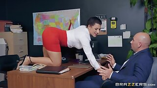 Sexy secretary Valentina Jewels gets nude and rides strong cock right at work