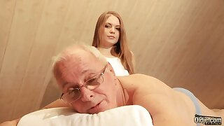 Pretty hot young masseuse is quite nimble connected with riding cock of old pervert