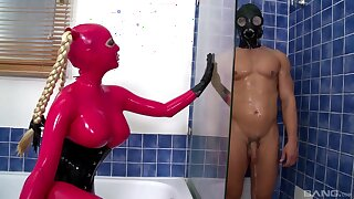 BDSM fetish video with Lucy Latex enjoying while her prickle is being pulled