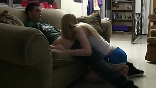 Two cute college teens share a cock
