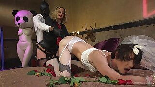 Male slave dressed in a bride dress, insane anal with his mistress