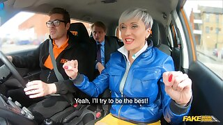 Short hair Tanya Hustler teases and gets fucked surrounding the car. HD