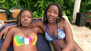 Fat ass Coloured Dolla enjoys having lesbian sex with her ebony lover