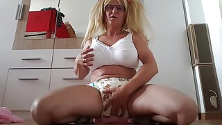 Diaper Bimbo Sissy Faggot Looser Humiliated with the addition of Exposed in Public Sucks BBC