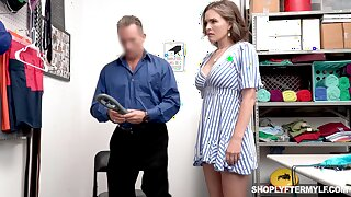 Super sexy shoplifter Krissy Lynn gets punished in a guard parade-ground